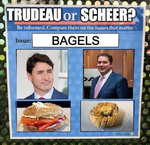 Meme comparing Justin Trudeau and Andrew Scheer on the issue of bagels