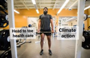 "Meme that depicts Jagmeet Singh lifting weights at a gym. The barbells are labelled ""Head to toe health care"" and ""climate action"""