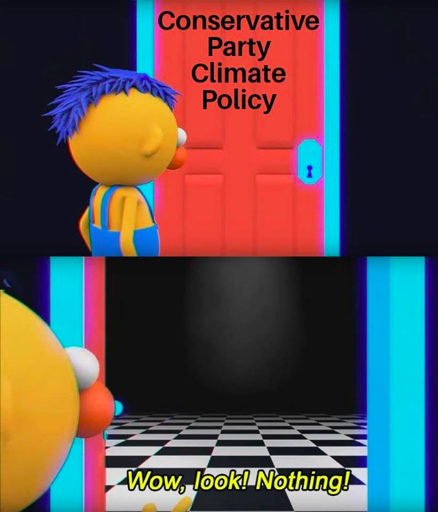 """Image above shows an animated figure standing in front of a closed door labelled """"Conservative Climate Change Policy"""". Image below shows the same figure looking into the room behind the now open door - the room is empty. Accompanying text reads, """"Wow, look! Nothing!"""""""