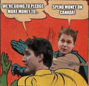 Meme that shows Andrew Scheer slapping Justin Trudeau in the face