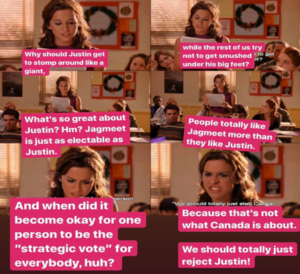 "Six-panel meme depicting a young, female character from the movie ""Mean girls"" in a classroom setting, reading aloud from a paper."