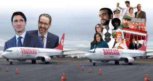 "Two airplanes on a runway. The one on the left is labelled ""Trudeau"", and photos of Justin Trudeau and Gerald Butts are inserted above it. The second plane is labelled ""baggage"" and is accompanied by photos of various people, among them Jody Wilson-Raybold, Omar Khadr, Fidel Castro, Trudeau in blackface, and Trudeau on his visit to India."